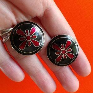 Enamel cloisonne floral button clip earrings